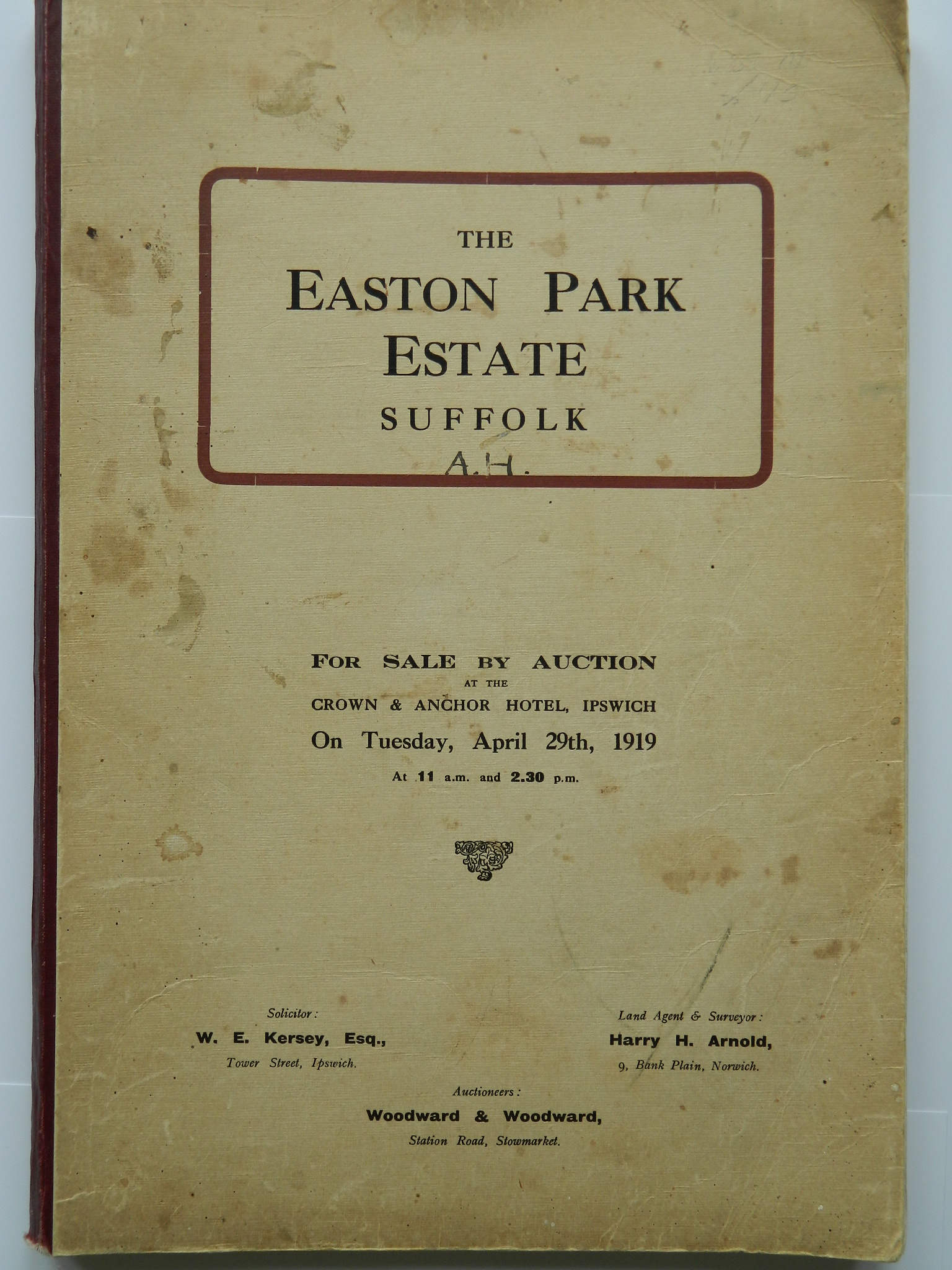 Easton 1919 Auction Front Cover The